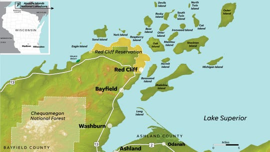 The Apostle Islands National Lakeshore off the northern border of Wisconsin.
