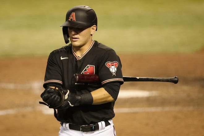 Daulton Varsho of the Arizona Diamondbacks reacts to a strikeout against the Los Angeles Dodgers during the ninth inning Aug. 1, 2020.