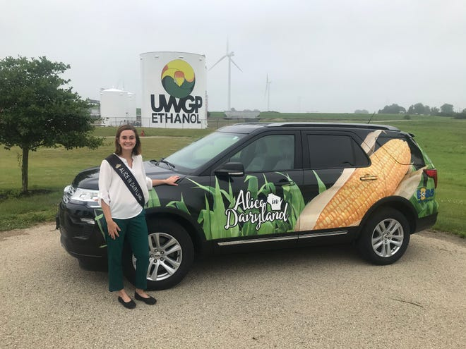 Alice in Dairyland Julia Nunes drives an ethanol-fueled Ford Explorer to support Wisconsin's corn farmers during her year as the state's agricultural ambassador.