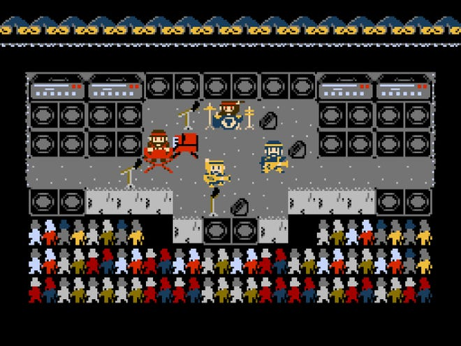"""You can play as the Milwaukee band Space Raft in the new Milwaukee-set video game """"Space Raft,"""" developed for the Nintendo Entertainment System by the band's Jordan Davis."""