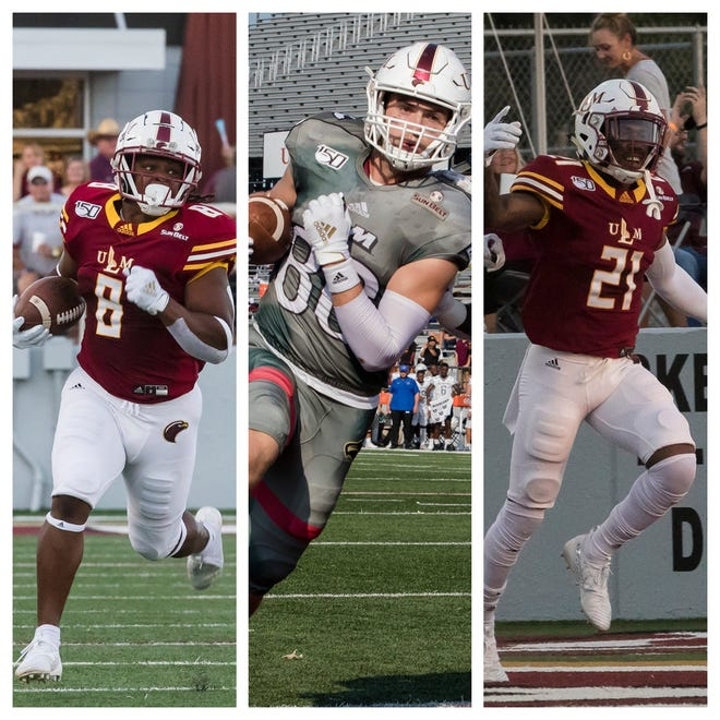 ULM's Josh Johnson (8), Josh Pederson (86) and Corey Straughter (21) declined the NFL Draft and interest from Power-Five schools to return to ULM for their senior seasons.