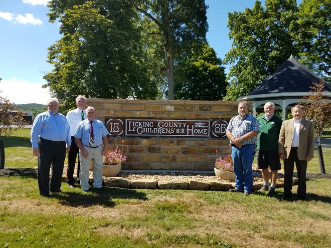 Licking County Commissioners Tim Bubb, Duane Flowers and Rick Black were joined by Newark Mayor Jeff Hall and Licking Park District Director Richard Waugh in the dedication of the Licking County ChildrenÕs Home Memorial Park on Tuesday, July 28, 2020.