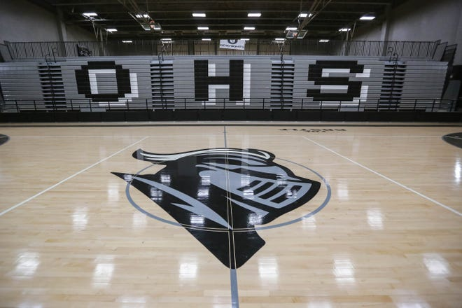 "The Oñate High School gym bleachers, pictured Wednesday, Aug. 5, 2020, have ""O-H-S"" printed on them. The school was renamed Organ Mountain High School on Tuesday and the new name is take effect July 2021. Officials have said it will cost $10,000 to redo the bleachers."