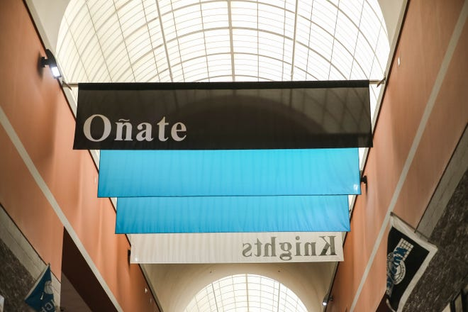 "A banner with ""Oñate"" is displayed at Oñate High School on Wednesday, August 5, 2020. The school is being renamed Organ Mountain High School starting with the 2021-22 year."
