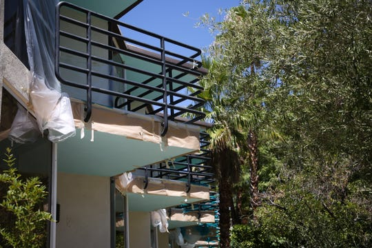 Balconies at the Riviera hotel are renovated on Wednesday, August 5, 2020. The hotel sits on the corner of Indian Canyon Drive and Vista Chino. It opened in 1959.