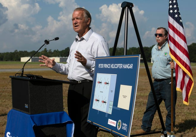 Florida Sen. Doug Broxson speaks Wednesday, Aug. 5, 2020, at the Peter Prince Airport in Milton during a groundbreaking ceremony for a new hangar facility for Leonardo Helicopters. The helicopter manufacturer will operate temporarily from the Milton airport location as its permanent facility at the Whiting Aviation Park is constructed. Leonardo will use both locations to support its contract with the U.S. Navy to deliver 130 new training helicopters to Whiting Field. The Philadelphia-based aviation company is expected to bring 50 high-paying jobs to the area. Construction on the new facility is expected to begin later this month.