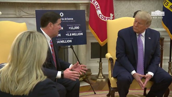 Gov. Doug Ducey updates President Trump on August 5, 2020 on how Arizona is dealing with COVID-19.