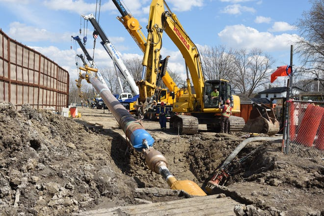Work has been completed on a stretch Line 5 running under the St. Clair River, replacing a section of existing pipe.