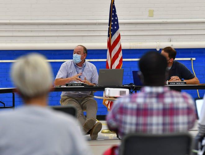 ISD 748 Superintendent Jeff Schwiebert speaks during a meeting of the school board Wednesday, Aug. 5, 2020, in Sartell.