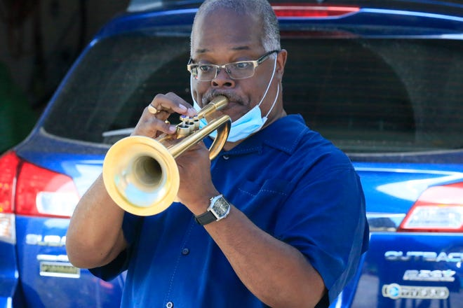 On Jan. 31, FSU professor of jazz trumpet, Scotty Barnhart, shown here giving a popup jazz concert in 2020, will pair up with the first prodigy on Javacya's roster, Julian White II.