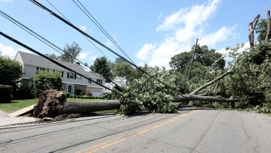 A large tree took down power lines when it fell on Pelhamdale Ave. in Pelham during Tropical Storm Isaias Tuesday. Damage from the storm has left over 200,000 people without power throughout the Lower Hudson Valley.