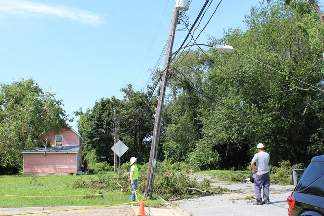 Clarence Street, across from Eden Hill Medical Center,  was closed for most of the day Aug. 5 as crews worked to remove trees from power lines and straighten a leaning utility pole.