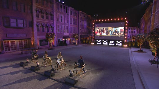 'America's Got Talent' judges Simon Cowell, left, Sofia Vergara, Heidi Klum and Howie Mandel talk to competitors on a large screen during the Judge Cuts episode, which was taped in June and broadcast July 28.