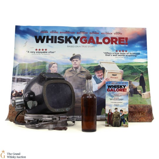 The bottle of whiskey also comes with an original movie poster, diving helmet and bricks from the ship.