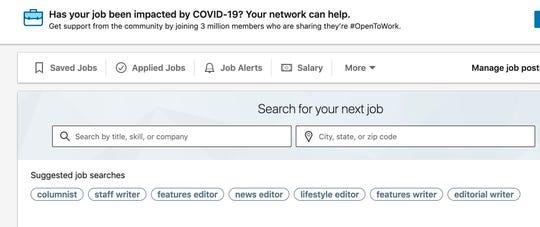 LinkedIn jobs tab