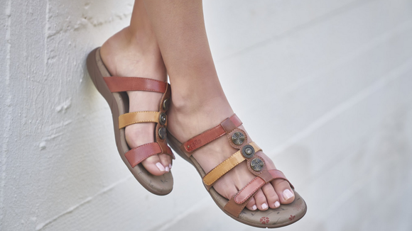 This sandal has multiple straps for cuteness and comfort.