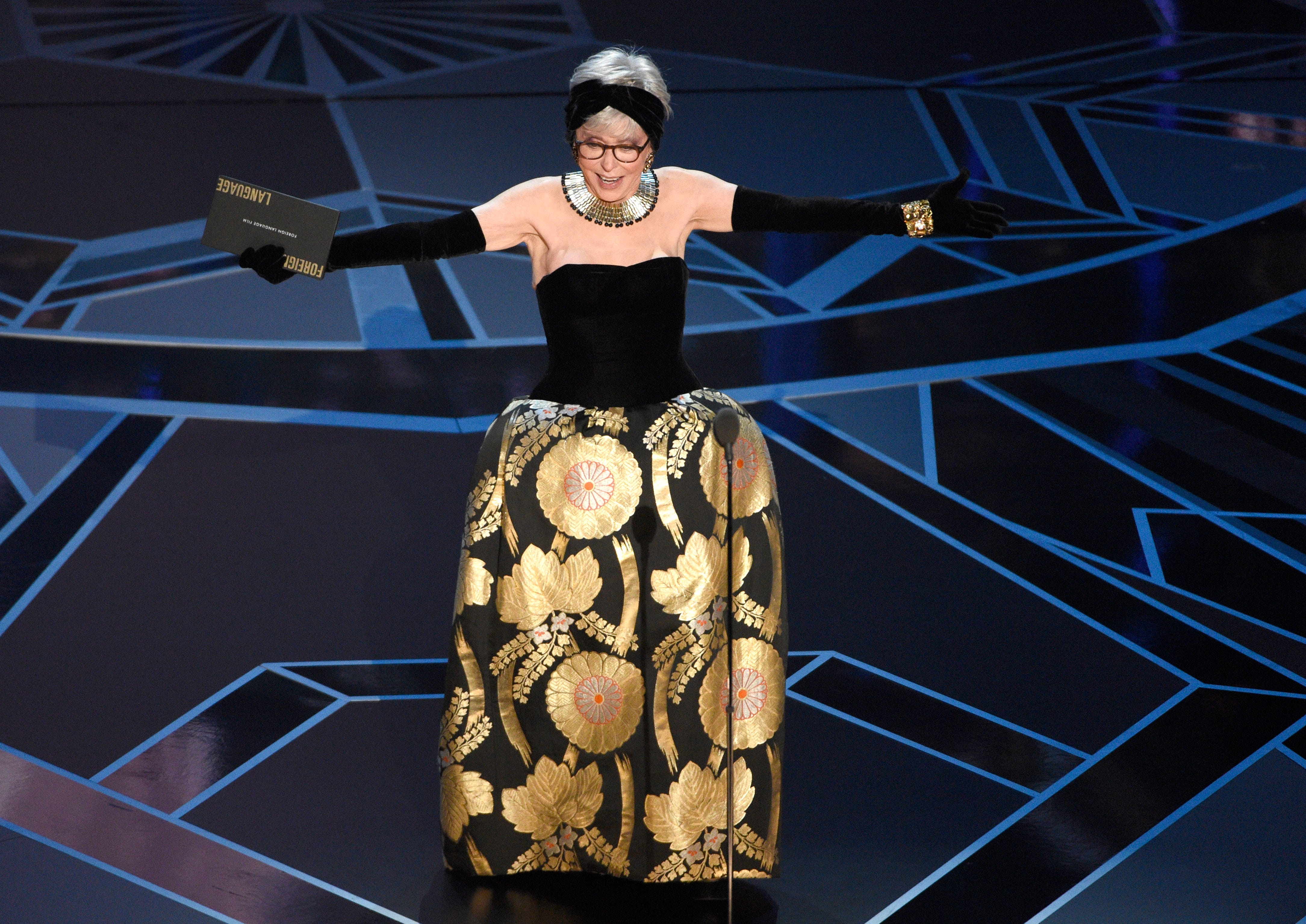 Rita Moreno presents the award for best foreign language film at the Oscars in 2018.