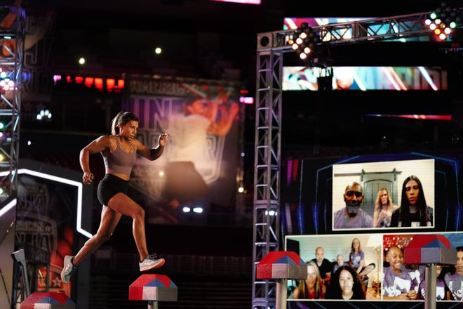'American Ninja Warrior' competitor Meagan Martin takes on the indoor obstacle course in St. Louis as supporters cheer her on remotely.