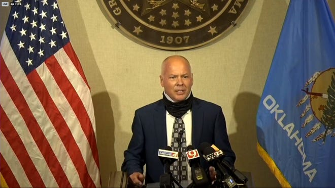 Dr. Lance Frye, interim Commissioner for the Oklahoma State Department of Health, speaks to reporters during a live streamed press conference Thursday. State officials say hospital capacity has not been pushed to its limit during an ongoing pandemic.