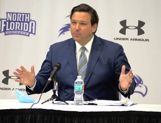 Governor Ron DeSantis hosted a roundtable discussion about school athletics Thursday at the University of North Florida. [Emily Felts/Florida Times-Union]
