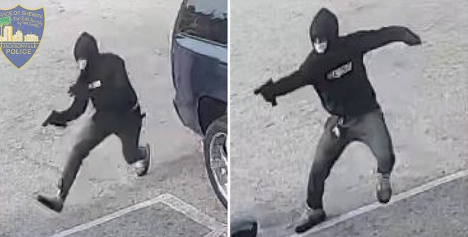 Security camera images show a man firing a gun at a woman in a parked car at an Edgewood Avenue West gas station Monday morning. She was killed. [Jacksonville Sheriff's Office]