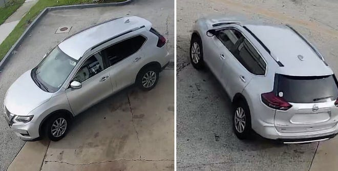 This is the silver Nissan Rogue used by a gunman in Monday's fatal shooting at an Edgewood Avenue West convenience store, as seen in security camera images. [Jacksonville Sheriff's Office]