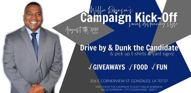 Willie Robinson is hosting a campaign kickoff event Saturday for his campaign for the Gonzales City Council Division C seat.