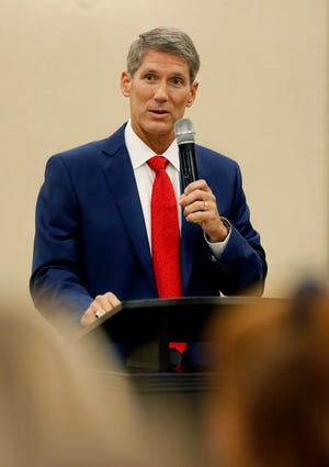 """Scott Franklin, Republican candidate for U.S. House District 15, speaks during the Republican Women's Club of Lakeland Federated meeting at the Hilton Garden Inn in June. The National Republican Congressional Committee has added the Lakeland city commissioner to its list of """"Young Guns,"""" candidates identified to receive national backing."""