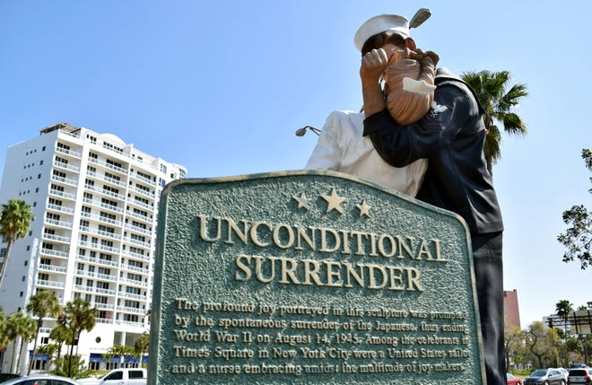The Unconditional Surrender statue has to be moved from the Sarasota Bayfront, at least temporarily, during construction of a traffic circle. [HERALD-TRIBUNE ARCHIVE / 2020]