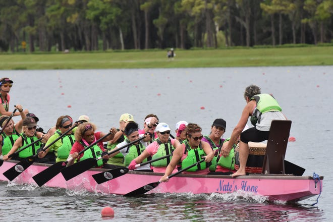 Survivors in Sync, a Sarasota dragon boat team of breast cancer survivors, practices in 2018 at Nathan Benderson Park, which will host the U.S. Dragon Boat Federation's 2021 Club Crew National Championships next summer.