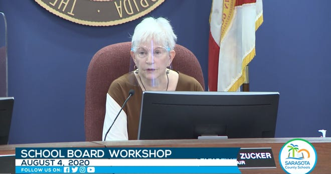 Sarasota County School Board Chairwoman Caroline Zucker wears a face shield during the board workshop on Tuesday. The School Board's decision to allow shields as an alternative to face masks when schools resume Aug. 31 is not in line with guidance from the Centers for Disease Control, and board members said Thursday they want to revisit the issue.