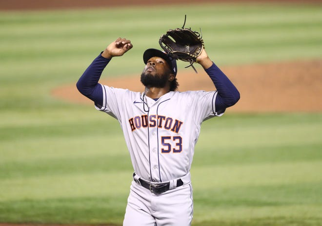 Astros right-handed pitcher Cristian Javier picked up the first victory of his major league career Tuesday with a strong six-inning starting stint in an 8-2 win over the Arizona Diamondbacks. (Mark J. Rebilas/USA TODAY Sports)
