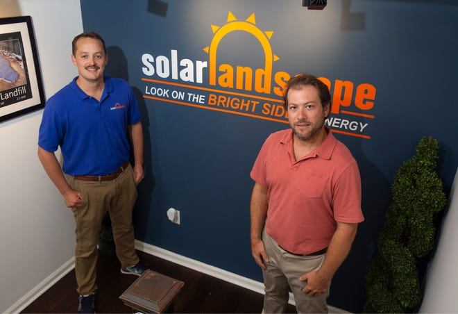Solar Landscape, an Asbury Park-based company that has been designing, building, installing, and maintaining solar PV systems since 2012. Shaun Keegan, Founder, CEO, and Cory Gross, Founder, COO with a solar panel.  Asbury Park, NJ Thursday, August 06, 2020