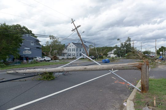 A tornado spawned by tropical storm Isaias left Route 9 damage in Marmora in Upper Township, Cape May County, on Tuesday morning, August 4, 2020.