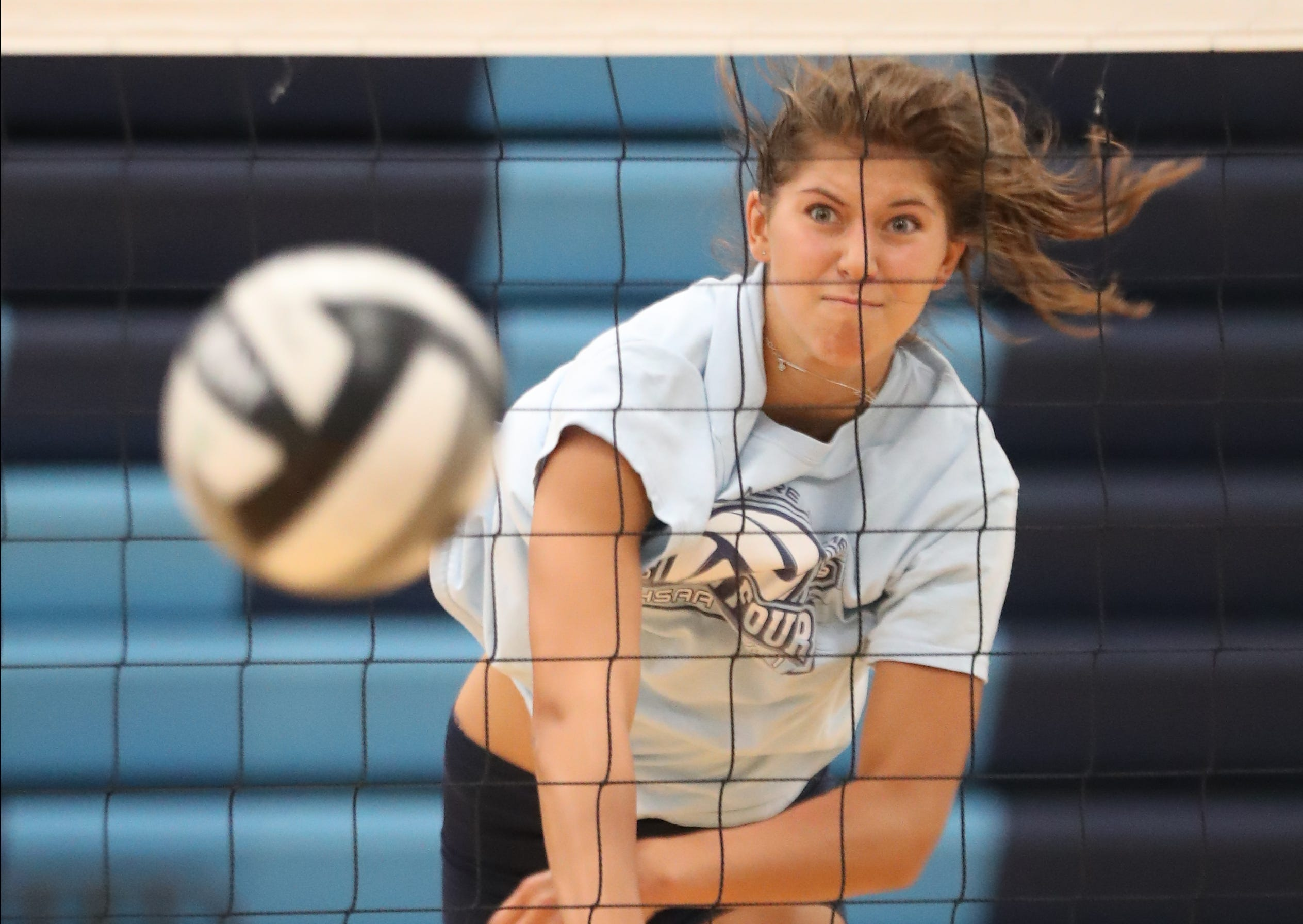 Mount Notre Dame player Carly Hendrickson gets to work during practice Wednesday, Aug. 5, 2020.