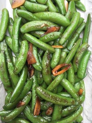 Blistered sugar snap peas