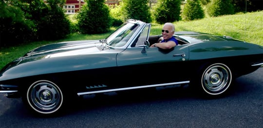 A screen capture from a Joe Biden video campaign ad on YouTube titled 'Joe Biden Gets Vetted,' spills the beans on a future electric Corvette model.