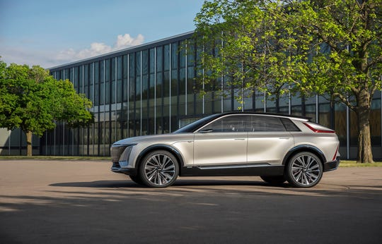 An exterior view of the new Cadillac Lyriq electric SUV. This is an extraordinarily early look at the styling and features of a vehicle that won't be sold until late 2022.