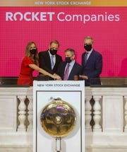 Rocket Companies' Dan Gilbert and Jay Farner rang the opening bell Aug. 6 on the New York Stock Exchange in celebration of its IPO.