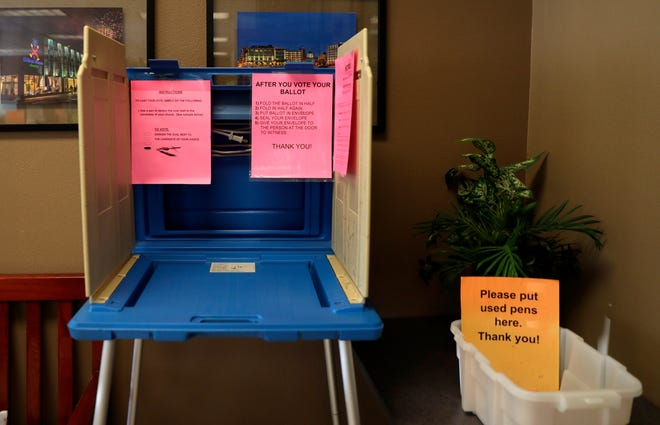 A polling station is set up in the Clerk's Office at Green Bay City Hall on Aug. 6, 2020, for residents who want to vote early in person for the August primary election.
