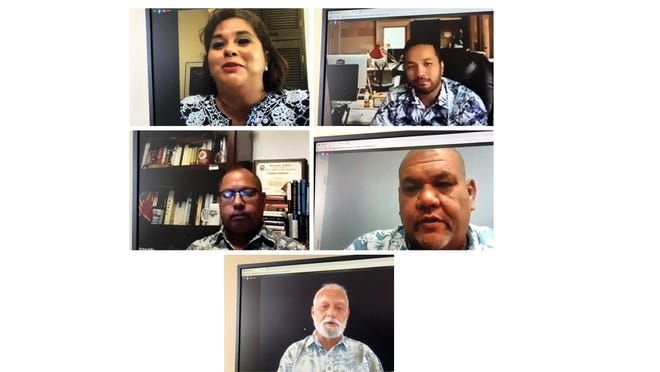 In this file photo from Aug. 6, senatorial candidates participated in The Fanohge Coalition's virtual candidate forum. Shown in this combined photo, top row from left: Joanne Brown and Vincent Borja; Middle row from left: Fred Bordallo Jr. and Chris Carillo; Bottom row: Ken Leon-Guerrero. The next forum is scheduled for 9 a.m. to 11 a.m. Sept. 24 on Facebook.