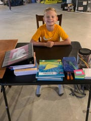 Ryland Smith starts fifth grade at Riverside Intermediate from home.