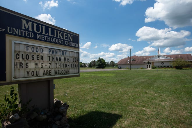 The site of the former  Mulliken United Methodist Church in Mulliken, Mich., pictured Thursday, Aug. 6, 2020.  [[AP Photo/Matthew Dae Smith via Lansing State Journal]