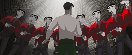 """Stylized versions of Andy Warhol's stylized representations of Elvis come to life in a fantasy sequence in the strange Hungarian animated film """"Ruben Brandt, Collector."""""""