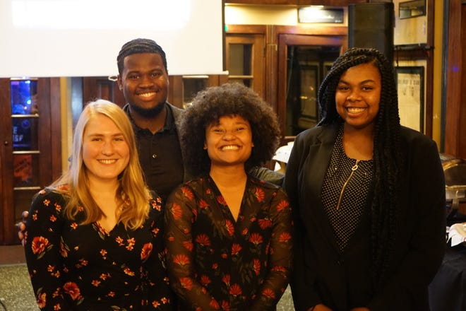 CNS 2019 Scholarship winners with the CNS president from left to right: Hannah Wilson, Hakim Collins, Nyesha Stone (president) and Tanya McNeal.