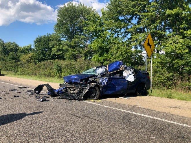 A Plainfield man was killed Thursday afternoon when his car crashed into the rear of a semi box trailer on Interstate 69 in northwestern Delaware County.
