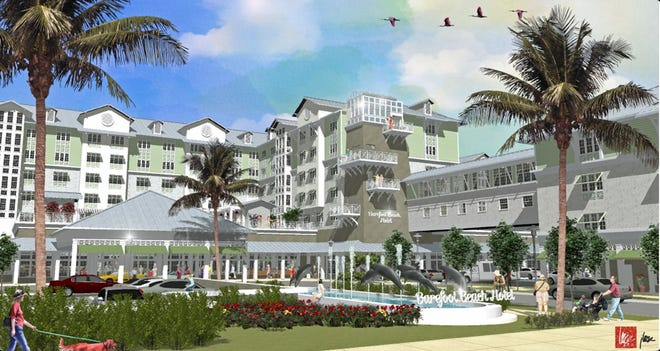 A rendering of the proposed Barefoot Beach Hotel on the north side of Bonita Beach Road.
