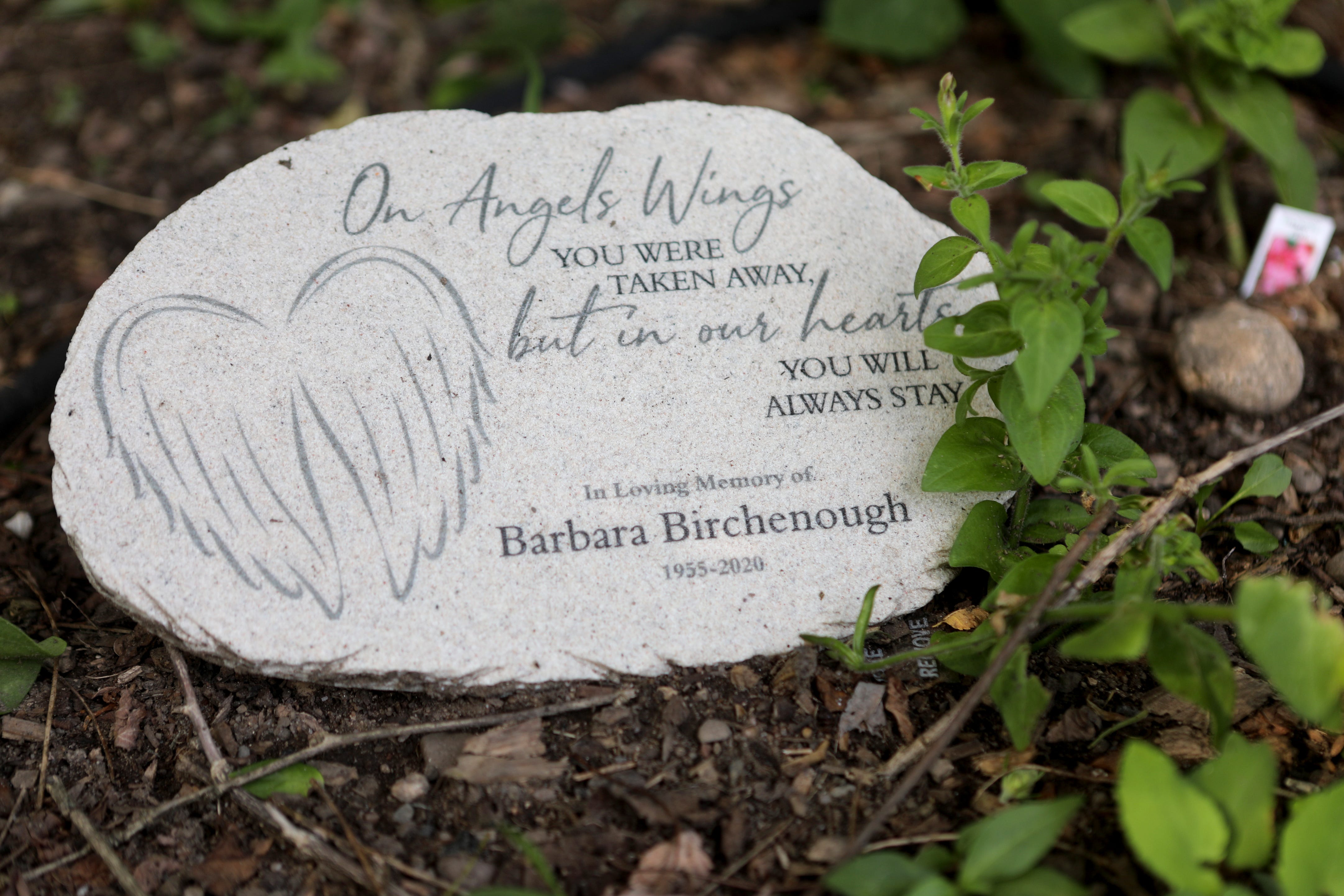 A stone is shown in the Birchenough's Midland Park garden, remembering Barbara. Wednesday August 5, 2020
