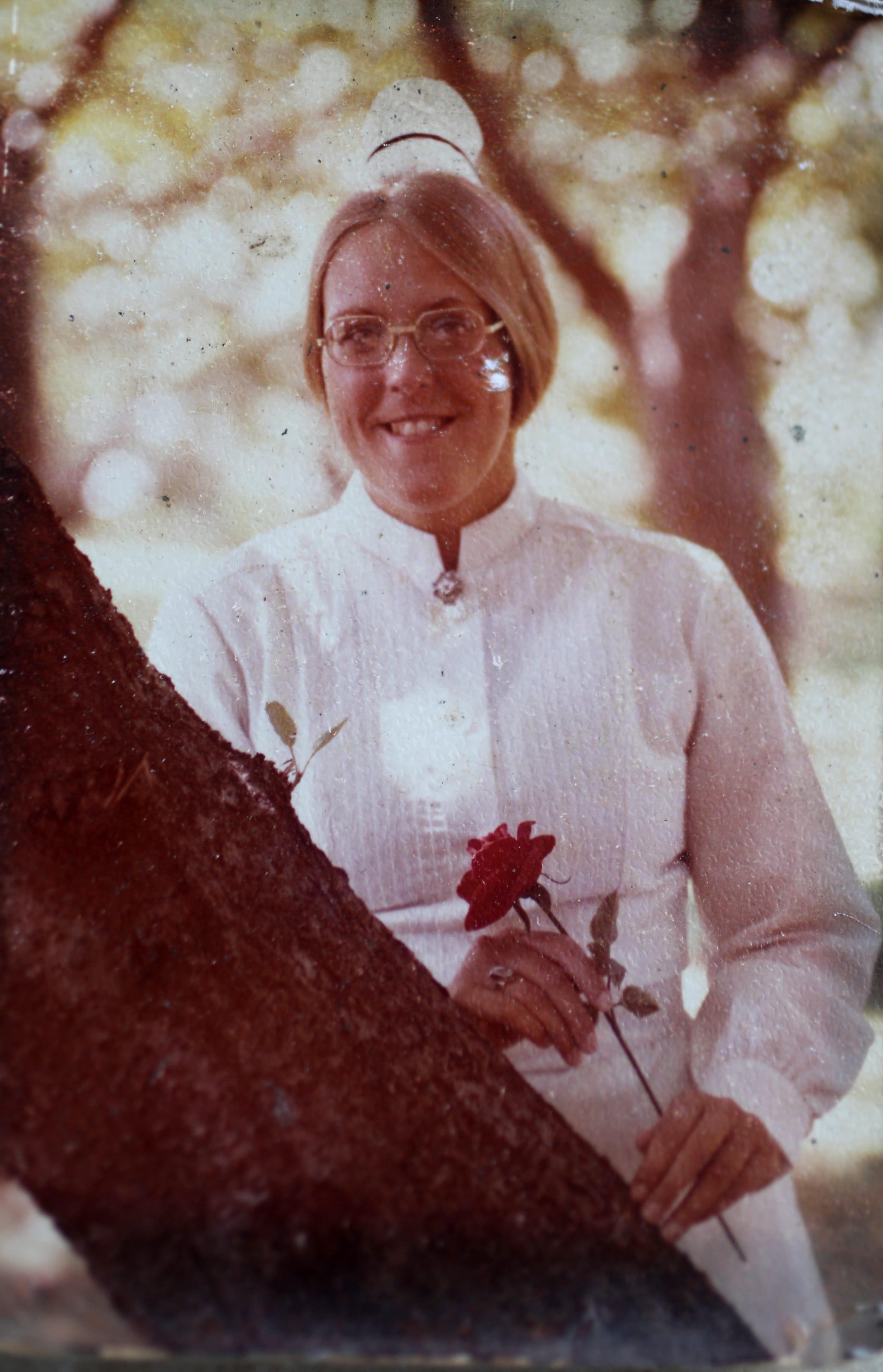 Barbara Birchenough is shown in a photo from when she graduated nursing school.