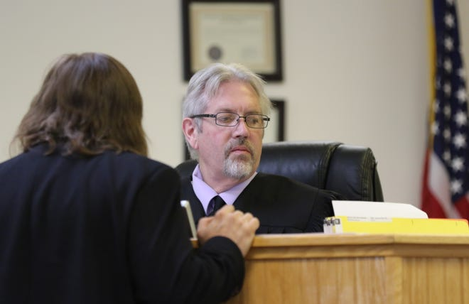 Aztec Magistrate Court Judge Barry Sharer presides over a preliminary hearing on July 11, 2019 in Aztec. Sharer, 55, died on July 26.
